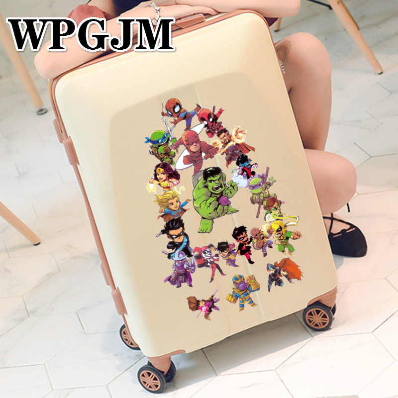 50 Pcs lot Marvel Avengers Luggage Sticker Superman Raytheon Spiderman Suitcase Notebook Guitar Waterproof Sticker in Stickers from Toys Hobbies