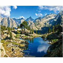 WEEN Blue Lake Mountain-DIY Painting By Numbers, Acrylic Paint, Canvas For Wall Decoration Picture, Paint Numbers