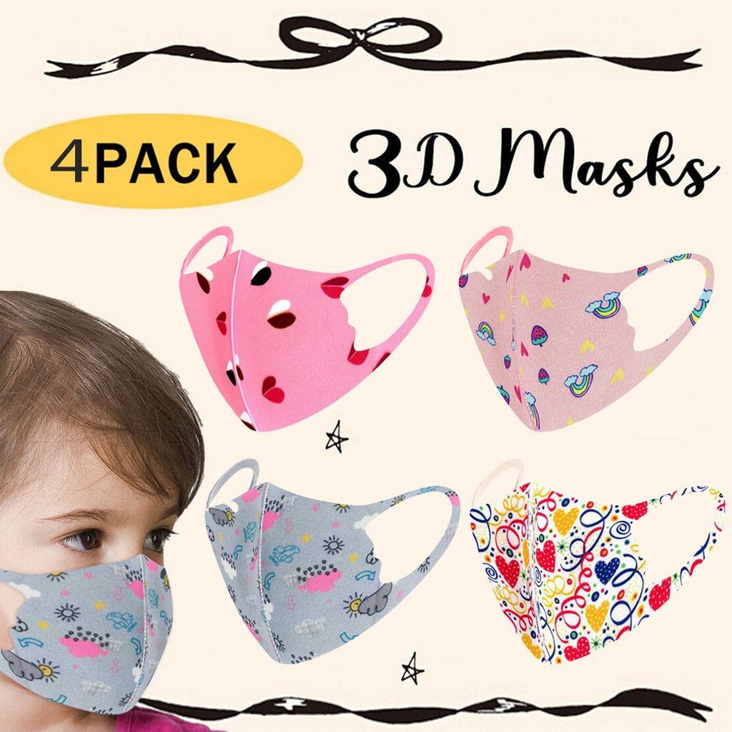 4 шт. маска для лица многоразовая моющаяся хлопковая Защитная детская мультяшная Милая Pm2.5 Пылезащитная теплая маска для лица с фильтром