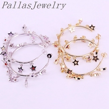 3Pairs Cz Micro Pave Rainbow Star Charms Dangling Earring, Silver / Gold Color Fashion Party Jewelry For Women Girls