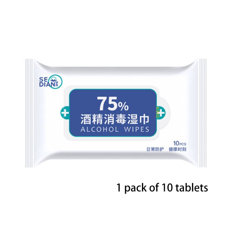10Pcs Alcohol Disinfection Sanitary Wipes Sterilization Antiseptic Pads Portable