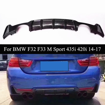 4 Series Real Carbon Fiber Car Rear Bumper Diffuser Lip Spoiler For B-MW F32 F33 M Sport 420i 435i Four Outlet 2014-2017 image
