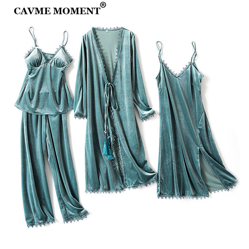 CAVME Winter Velour Pajama Sets For Women 4 Pieces Sexy Lace Sleepwear Solid Color Robes Pants PLUS SIZE CUSTOM Bride Homewear
