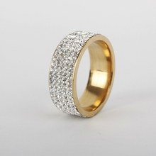 Womens Fashion Rhinestone Stainless Steel Girl Jewelry 2019 Wholesale Party Gifts Clear Crystal Wedding Ring
