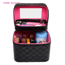 Pink Sugao makeup case travel organizer women bag cosmetic fashion make up luggage toiletry with mirror new