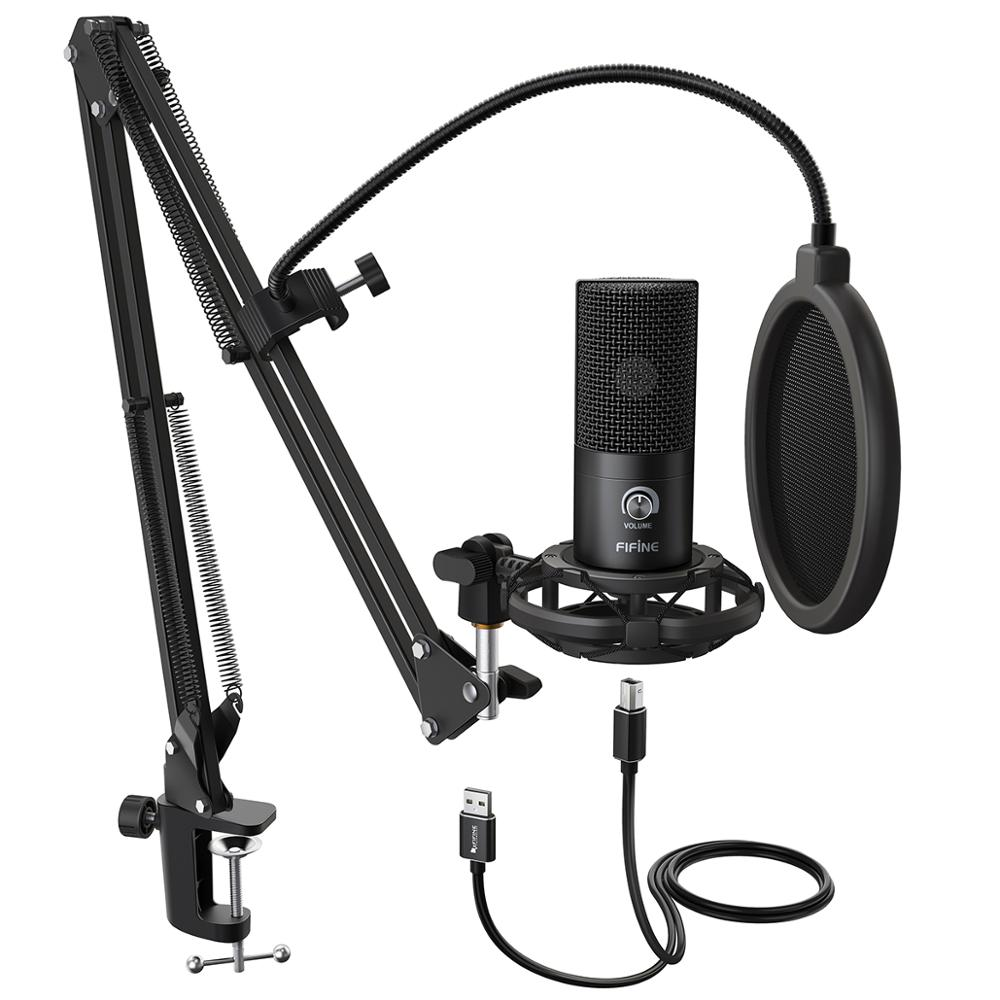 FIFINE สตูดิโอคอนเดนเซอร์ไมโครโฟน USB คอมพิวเตอร์ชุดปรับ SCISSOR ARM Stand Shock Mount สำหรับ Instruments Voice Overs