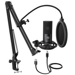 FIFINE Studio Condenser USB Computer Microphone Kit With Adjustable Scissor Arm Stand Shock Mount for Instruments Voice Overs