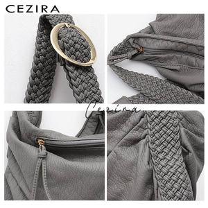 Image 4 - CEZIRA Big Soft Casual Women Bags Girl Wash PU Leather School Handbag Ladies Adjustable Woven Buckle Belt Messenger&Shoulder Bag