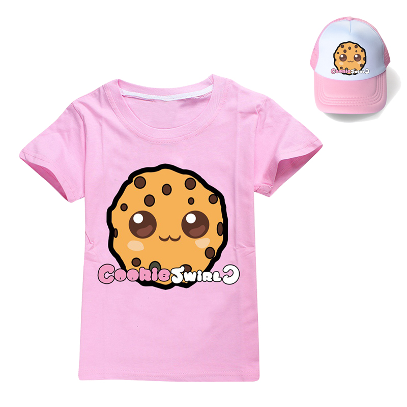 Summer 2Pcs/set Boys Girls Cotton COOKIE SWIRL C T-shirts Children Fashion Clothing Tops Casual Tees Kids Clothes+sunhat 1