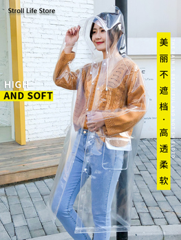 Transparent Long Rain Coat Women Adult Hiking Clear Raincoat Lengthened  Electric Motorcycle Rain Suit Poncho Plastic Suit Gift