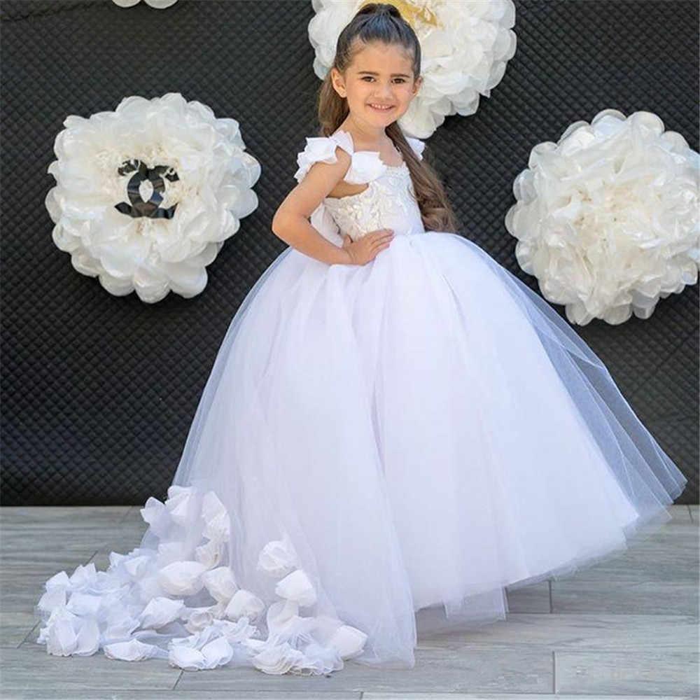 Белые тюлевые Платья с цветочным узором для девочек для особых случаев, без рукавов, с аппликацией, без спинки, Csutom, нарядные платья для девочек для причастия