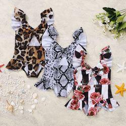 FOCUSNORM От 0 до 4 лет детской летней одежды для мальчиков и девочек, купальный костюм с цветочным и леопардовым принтом из змеиной кожи, с бантом...