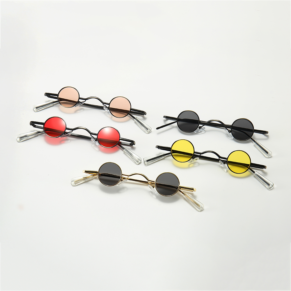 Мужские и женские мини-очки в металлической оправе, золотистые, черные, красные маленькие солнцезащитные очки в круглой оправе, аксессуары ...