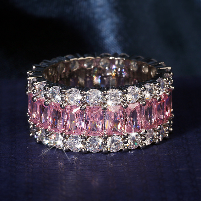 Big Bling Pink Zircon Stone Band Ring for Women Wedding Engagement Ring Fashion Jewelry 2020