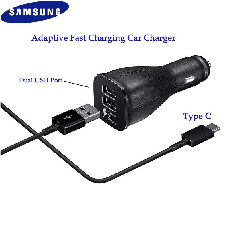 Original Samsung Car Charger Dual USB Adaptive Fast Adapter Micro/Type C Data Cable Sync For Galaxy S8 S9 S10 Plus A70 A50 A40-in Car Chargers from Cellphones & Telecommunications on