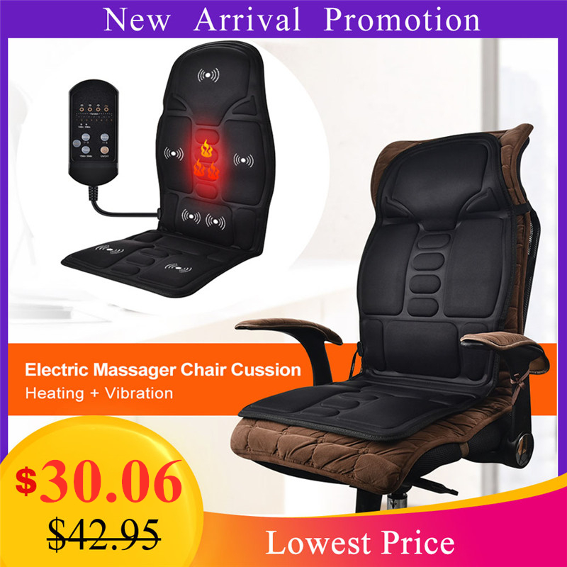Electric Massage Chair Pad Neck Back Massage Cushion Therapy Heating Vibrator Seat Home Car Office Lumbar Waist Pain Relief Mat