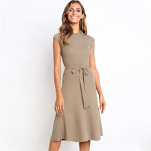 High Waist Office Ladies Long Knitted Dress 2019 Fashion Solid Short Sleeve O-Neck Autumn Dress Slim Casual Vestidos Robe Femme цены