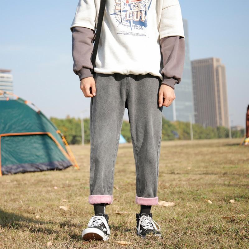 Winter Plus Velvet Thicken Jeans Men's Slim Fashion Washed Retro Jean Pants Men Streetwear Hip Hop Denim Trousers Mens Clothes