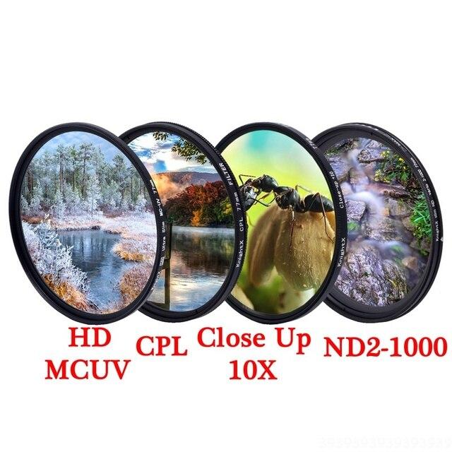 KnightX MCUV الأشعة فوق البنفسجية CPL ND نجوم خط ND2 ND1000 متغير المستقطب colse تصل ماكرو كاميرا dslr عدسة تصفية الملونة ضوء الصورة اللون