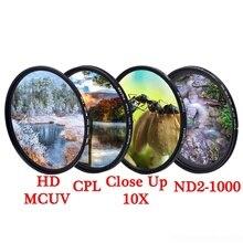 KnightX MCUV UV CPL ND étoile ligne ND2 ND1000 polariseur variable colse up Macro caméra dslr objectif filtre couleur de la lumière