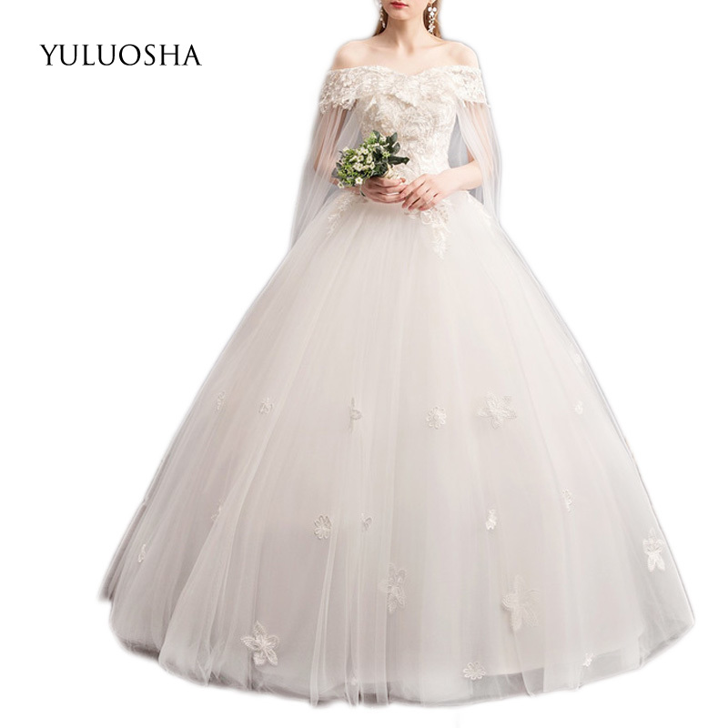 YULUOSHA Wedding Dress New 2020 Boat Neck  Lace Appliques Lace Up Boho Wedding Dress Elegant Women Bride Dress Vestido De Noiva
