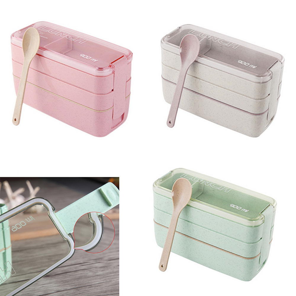 New 3-Layer Lunch Box Square Fast Food Container Kids School Portable Covered Bento Lunch Box Hiking Camping Kitchen Accessories
