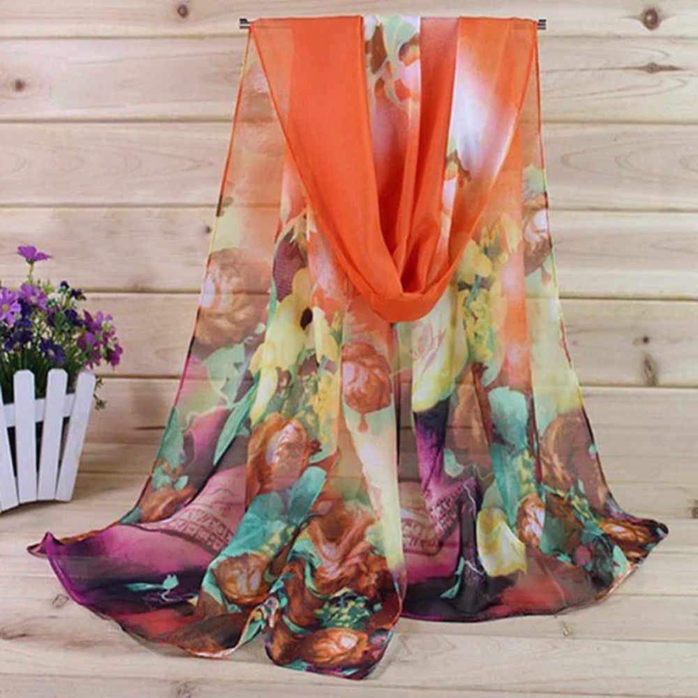 Mode Vrouwen Floral Prints Shawl Chiffon Sjaal Lady Soft Boho hijab sjaal Dame Vintage Katoen Meisje Sjaal echarpe foulard femme