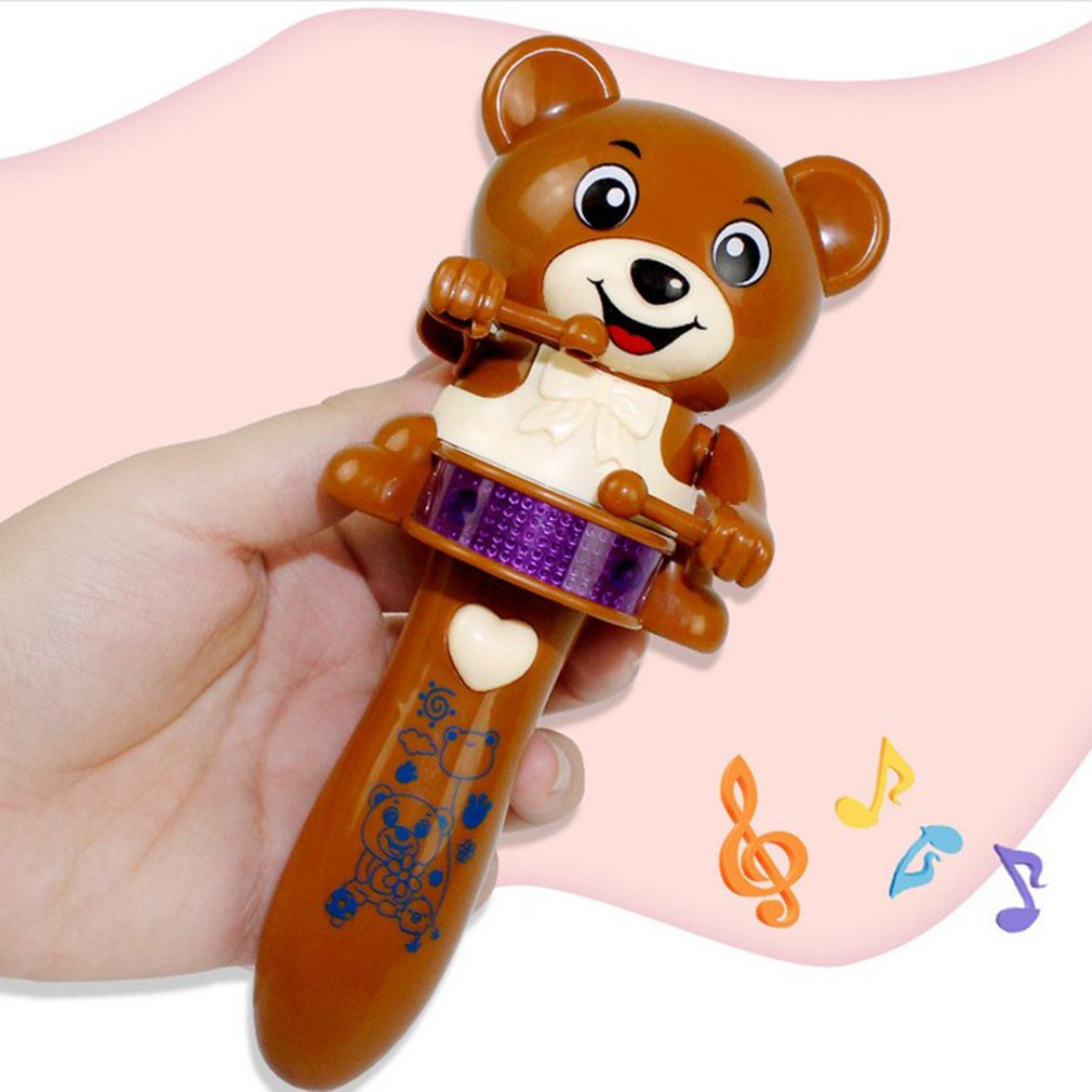 Funny Electric Led Flashing Music Bear Drum Cute Cartoon Animal Stick Electric Toy Education For Children Musical Instrument Toy