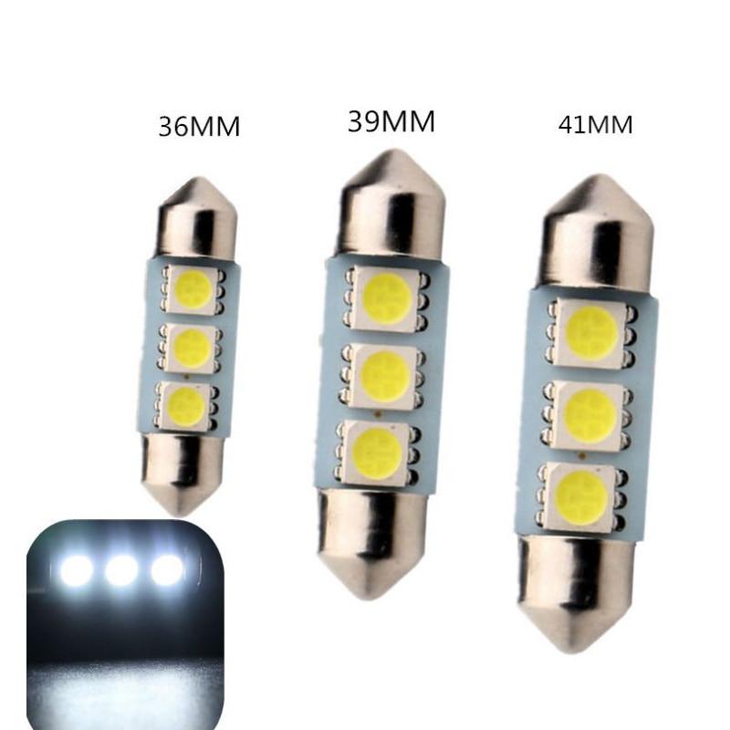 BMW 39MM 5050 3 SMD LED Festoon Dome Light Lamp Bulb