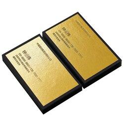 700 gram Gold foiled Large Block Single side Letterpress Business Paper Card Thick Black Cards Printing