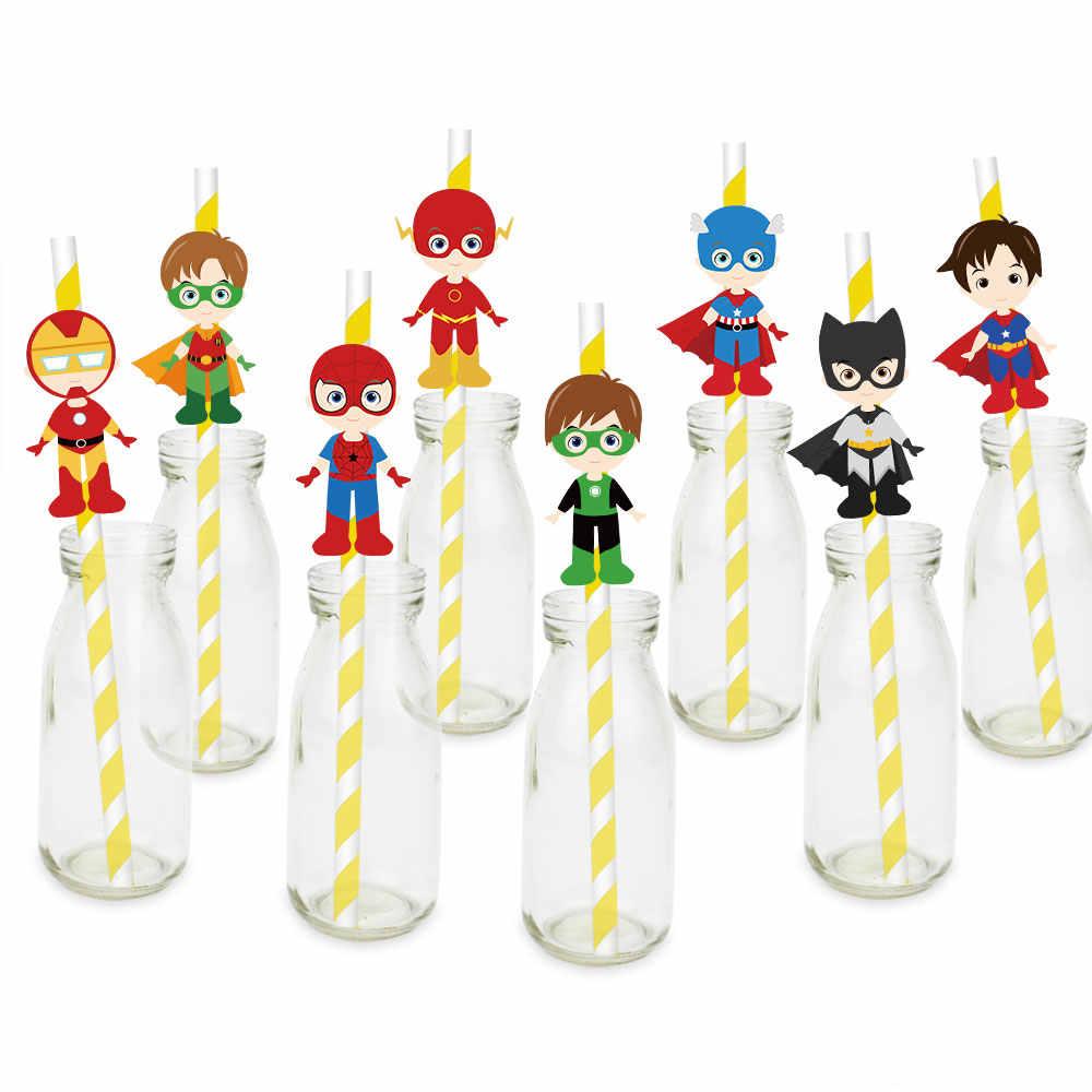 Super Herói Caixa de Presente Fontes Do Partido Convites Balões Bandeira Palha Garrafa de Água Saco Do Presente Do Bolo Topper Decoração da Festa de Aniversário