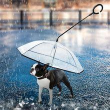 Прозрачный PE Зонтик для питомца сохраняет питомца сухим, комфортным в Дождь Снег день Удобный зонтик дождевик с поводками для собак