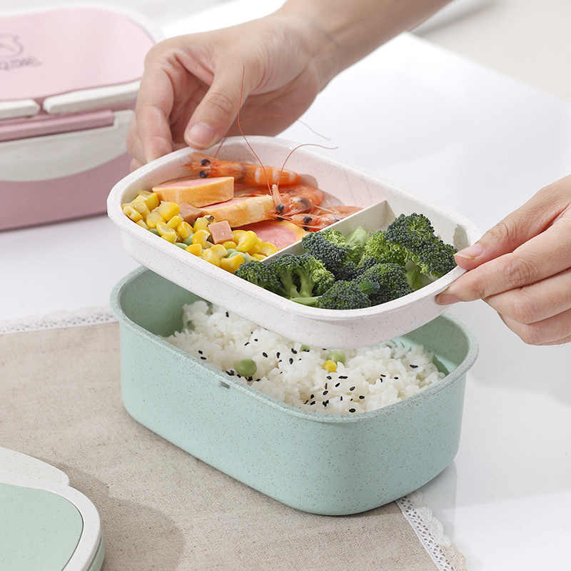 Wheat Straw Double-layer Insulated Lunch Box for Kids Food Storage Container Children School Office Portable Bento Box Organizer