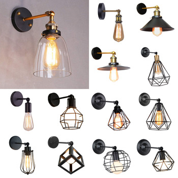 Vintage Retro Loft LED Cage Wall Light Industrial Wall Lamps Lamp Shade E27 Sconce Lights Modern Indoor Home Lighting Fixture retro vintage pendant lights loft industrial decor hanging lamp metal light for cafe bar home edison indoor lighting fixture e27
