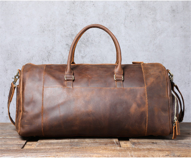 PNDME vintage large capacity genuine leather travel bag natural crazy horse cowhide handbag duffel bag real leather luggage bag 3