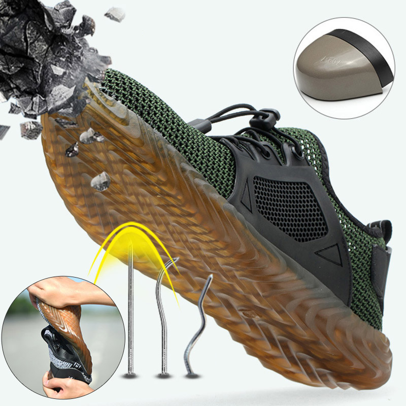 Safety Shoes Breathable Mesh Steel Toe Cap Labor Shoes Summer Lightweight Work Anti-smashing Stab-resistant Protective Footwear