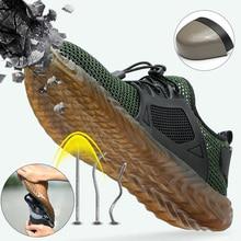 Sapatos Malha Respirável Sapatos de segurança Biqueira de Aço Sapatos de Trabalho de Verão Leve Calçado de Trabalho Anti esmagamento Facada resistente de Proteção