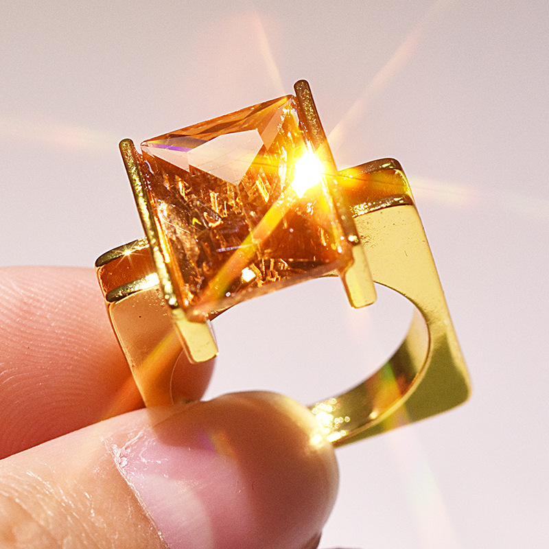 Stamp 14K Gold Square Ring for Women Yellow Topaz Ametrine Bizuteria Gemstone Anillos Diamond Jewelry Square Princess Ring Box