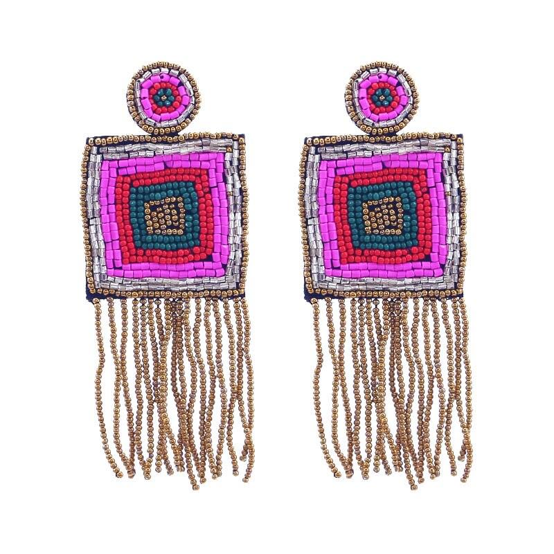 New Design Handmade Fringed Tassel Earrings for Women Bohemian Jewelry Gifts Wedding Glass Eyes Drop Earring Party (5)