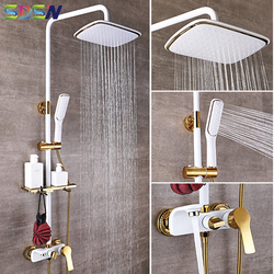 Набор для душа SDSN из белого золота для ванной комнаты, качественная медная латунная Ванна, смеситель для душа, насадка для душа, спа наборы д...