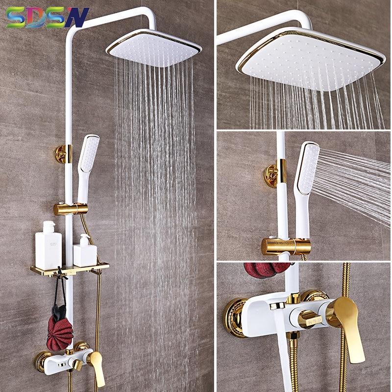 Shower Set SDSN White Gold Bathroom Shower System Quality Copper Brass Bathtub Faucet Rainfall Shower Head Spa Bath Shower Sets