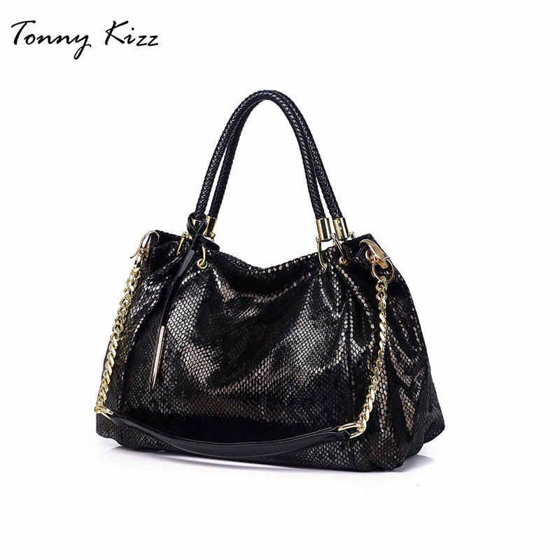 Tonny Kizz большие сумки из натуральной кожи женские сумки на плечо, кожаная женская сумка для покупок с змеиные принты Дамская змеиная плечевая сумка с принтом Хобо