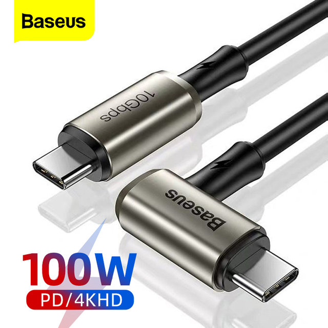 Baseus PD 100W USB C to Type C Cable Quick Charge 4.0 QC 3.0 Fast Charger For MacBook Samsung 10Gbps Data Wire 4K HD Video Cable