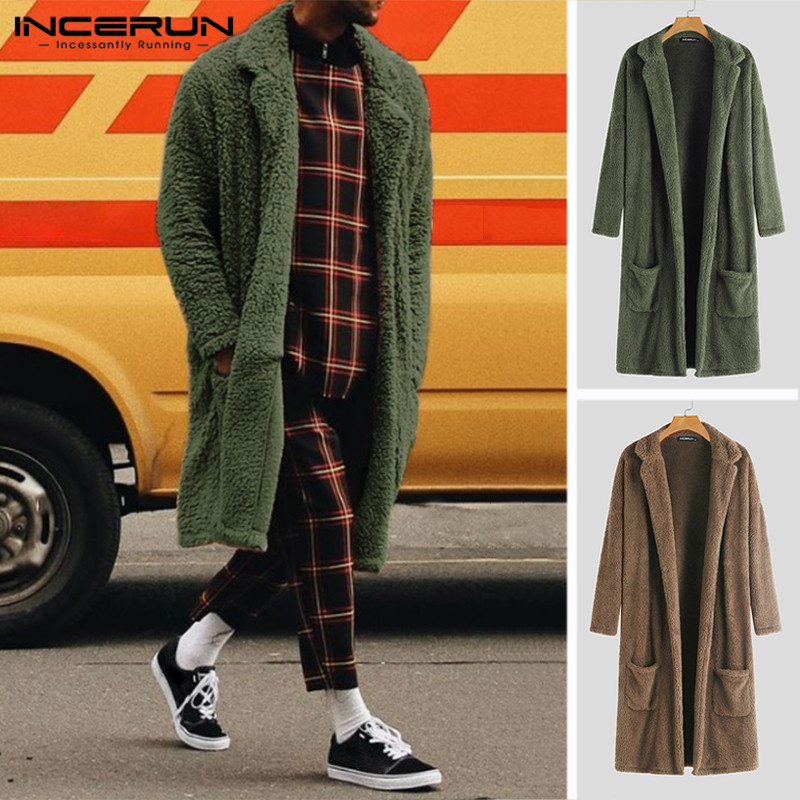 INCERUN Winter Fashion Men Trench Outerwear Solid Faux Fleece Long Cardigan Long Sleeve Streetwear Overcoat Fluffy Jackets Coats