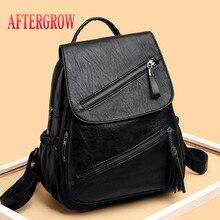 2019 Women Leather Backpacks Vintage Female Shoulder Bag Sac a Dos Travel Ladies Packbag Mochilas School Bags For Girls mochila