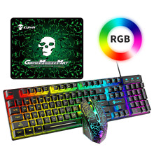 AJAZZ USB 104 Key Mechanical Computer Keyboard Wired RGB Backlit Keyboard Mouse Set Rainbow Backlit Gaming Keyboard