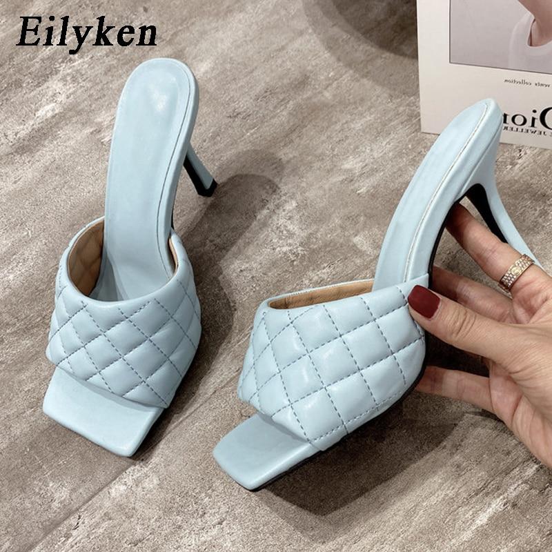 Eilyken Summer Women Mules Design Slippers Sandals Square Sole Slides High Heel 9CM Women Shoes Summer Woman Size 41 42