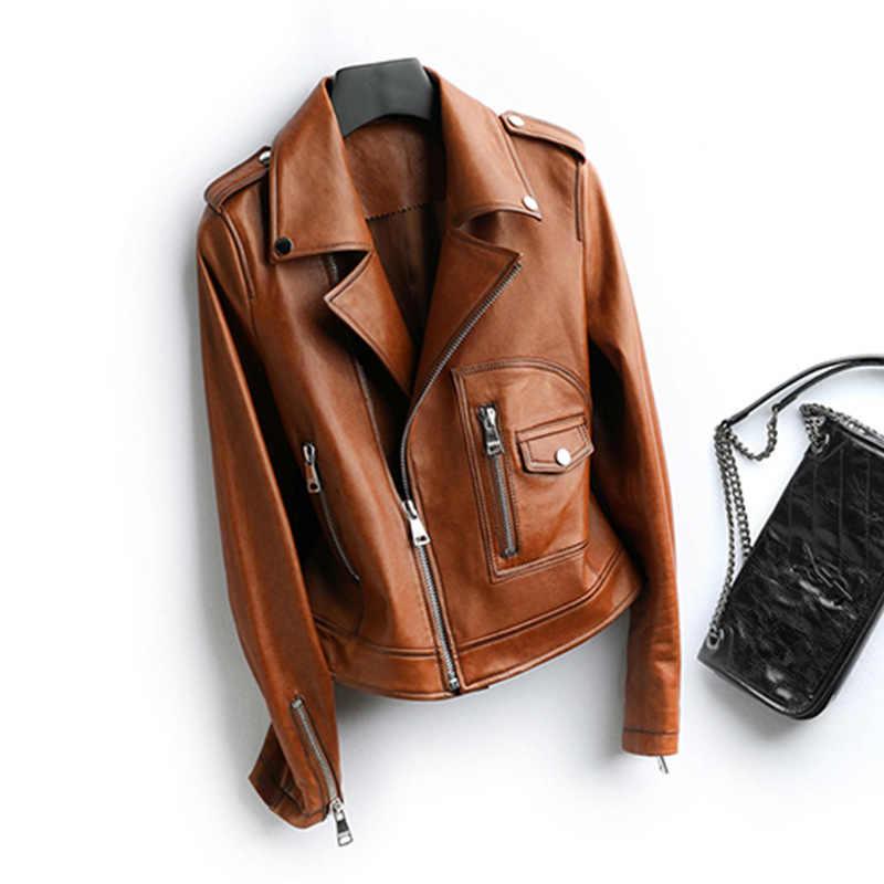 Kurtka skórzana kurtka jesienno-jesienna damska oryginalna kurtka z owczej skóry kobiet Streetwear kurtki-pilotki Chaqueta Mujer HQ19022 s