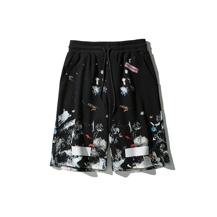 2019 Popular Brand Offwhite Ow Europe And America Station Fireworks Ink Shorts Men And Women Couples Fashion Versatile