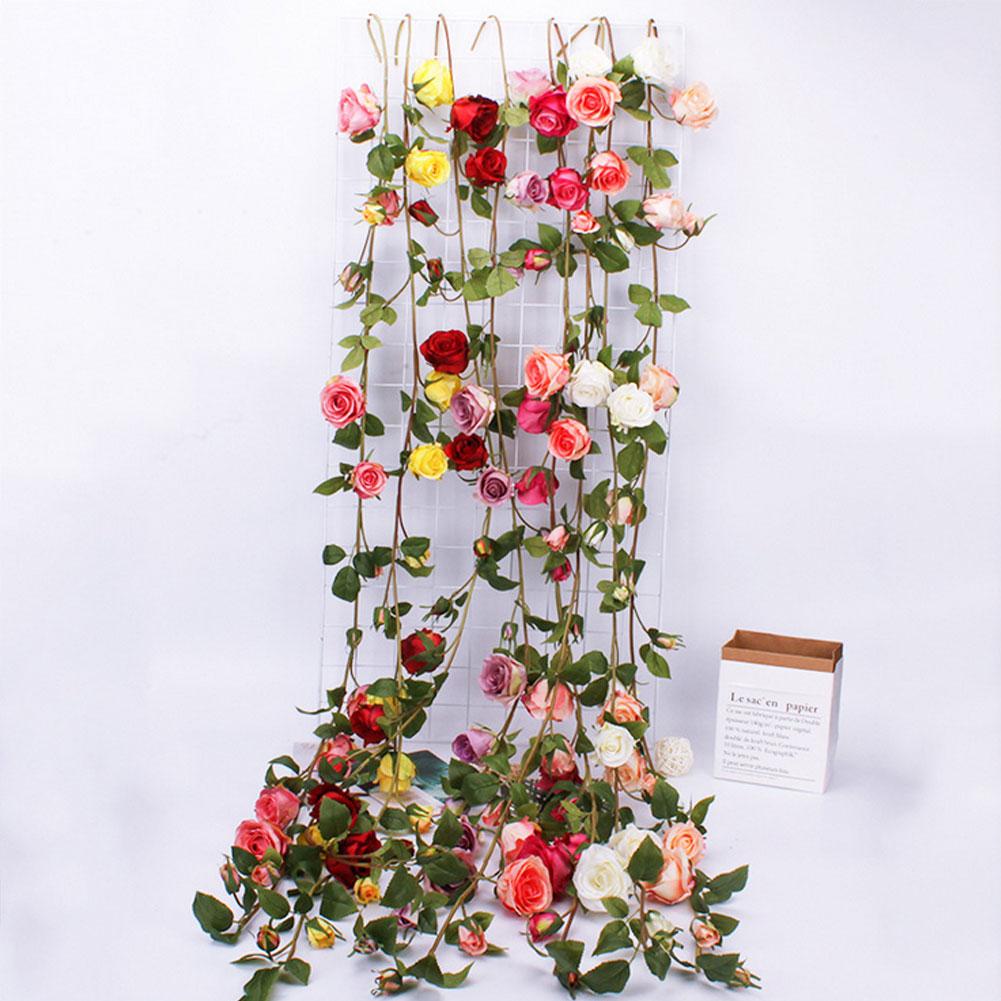 Artificial seda Rosa flor hiedra vid hoja Garland simulación realista blanco rosa vid boda fiesta hogar Decoración